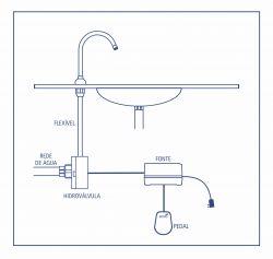 Acionador Elétrico C/ Pedal 127 V + Torneira  De Bancada 20cm