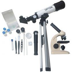 Kit Didático Microscópio Biológico Monocular 400X + Telescópio Astronômico 90X